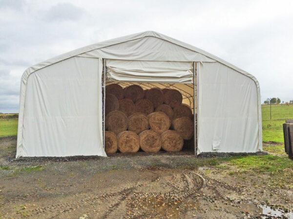 Zemědělská hala typ ekonomik s detailem ručně rolovacích plachtových vrat